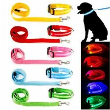 LED Light up Dog Pet Night Safety Flashing Bright Adjustable Nylon Collar Leash