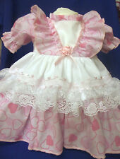 DREAM  ROMANY HEARTS SALE! FRILLY BABY DRESS ALL SIZES AVAILABLE OR REBORN DOLLS
