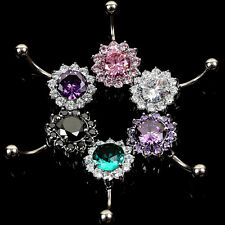 Women's Body Piercing Jewelry Crystal Ball Button Barbell Bar Belly Navel Ring
