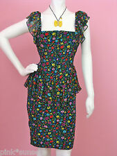 Betsey Johnson BJ POSY CRINKLE CHIFFON MIXUP PEPLUM DRESS