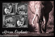 African Elephants with Young Calf, Wild Animals Ghana 2014 MNH 4v SS