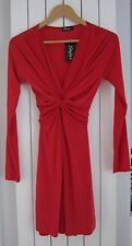 NEW Ladies  RED LONG SLEEVE TIE BACK MINI DRESS SIZE M/L (12-14)