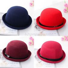 Womens Girls Adult Casual Fedora Wool Felt Wide Brim Bowler Hat Bucket Cap HOT