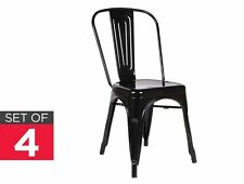 Dining Chairs 4 Pcs Sleek Chair Seat Glossy Bar Cafe Home New Hotel Black Silver