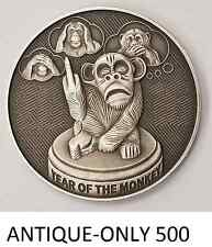 1 OZ SILVER COIN 2016 YEAR OF THE MONKEY ANTIQUE FINISH FLIP THE MONKEY QR CODE