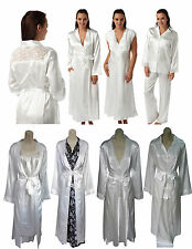 Ladies Ivory Long Silky Satin Chemise Wrap PJs Size10 12 14 16 18 20 22 24 26 28