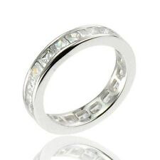 Sterling Silver Princess CZ Eternity Women Jewelry Wedding Engagement Ring