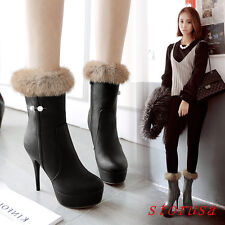 Sexy High Stiletto Heel Fur Trim Ankle Boots Shoes Platform Snow Boots Size New