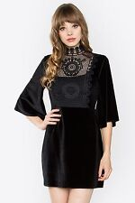 DESIGNER INSPIRED BLACK HIGH NECK CROCHET VELVET MIX BELL SLEEVE DRESS