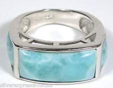 Beautiful AAA Genuine Dominican Larimar Inlay 925 Sterling Silver Ring Sz 6-7.5
