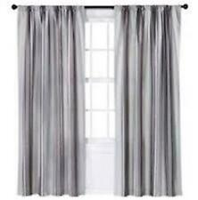 "New Target Threshold Warm Gray Awning Stripe Curtain Window Panel 54"" x 84"""
