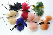 Butterfly feather millinery hat trim 5527 vintage NOS early 1900s royal blue