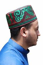 Tall Omani Arab Style African Kufi Black Base W/ ElectricGreen & Red Embroidery