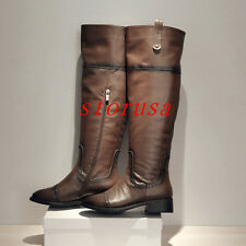 Retro Women Low Heel Knee High Boots Shoes leather Knight Boots Carved Brogue
