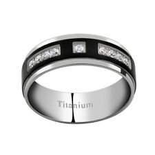 8mm Titanium Black Ion Plated Striped Multi Round Cubic Zirconia Wedding Band