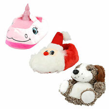 LADIES WOMENS NOVELTY RED SANTA PINK UNICORN BROWN ANIMAL DOG SLIPPERS SIZE 3- 8