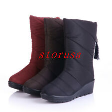 Women Lady Wedge Heel Waterproof Mid Calf Boots Shoes Snow Boots Size Tassel New