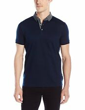 French Connection Men's Slim Fit Cotton Polo Shirt Marine Blue Floral Collar Top