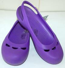 CROCS NEW LADIES JAYNA W NEON PURPLE Shoes Slide Ons Sandals Croslite Comfy Lite