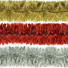 Deluxe Christmas Tinsel Garland Thick Chunky Wide Embossing Decoration 6.5ft-2m