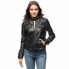 MEMBERS ONLY Sylvia Leather Jacket BLACK ($398) size Small or Medium NWT