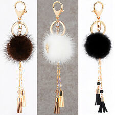1Pc Fur Ball Tassels Car Keychain Pendant Keys Handbag Phone Key Ring Charm