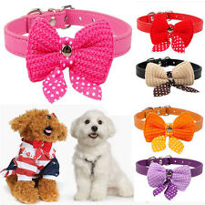 Lovely Bowknot Dog Puppy Pet Cat Adjustable PU Leather Collar Necklace Neck Belt