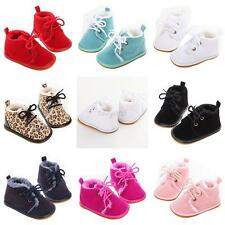 Infant Boy Girl Toddler Baby Suede Leather Shoes Lace-Up Velvet Warm Boots 0-18M