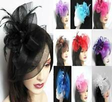 feather fascinator bow headpiece red blue purple white bworn pink,wedding