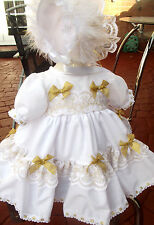 DREAM NB 0-3 3-6 MONTHS BABY WHITE  GOLD TRIM XMAS DRESS BONNET  OR REBORN DOLLS
