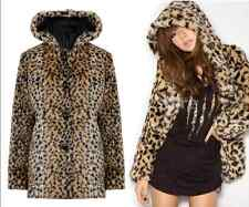 Ladies Women Animal Leopard Print Thick Faux Fur Coat Jacket with Hood Outerwear