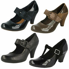 LADIES CLARKS COOLEST BERRY LEATHER MARY JANE BUCKLE SMART FORMAL COURT SHOES