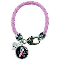 Custom Thyroid Cancer Awareness Ribbon Pink Leather Bracelet Jewelry Initial