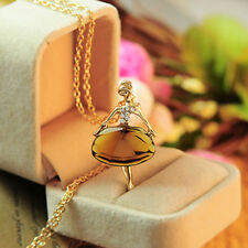 Fashion Gold Plated Sweater Chain Shiny Crystal Ballets Girl Pendant Necklace