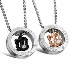 Couple STAINLESS STEEL Crown Crystal Statement Circle Pendant Necklace Christian