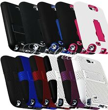 for SAMSUNG GALAXY NOTE II 2 HYBRID IMPACT RESISTANT MESH CASE COVER KICKSTAND