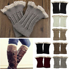Fashion Womens Crochet Knit Lace Trim Leg Warmers Cuffs Toppers Boot Socks hs