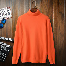 YIWEI Men Casual Rib-knit Turtleneck Sweater in Cotton-blend Pullover Jumper