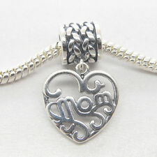 Genuine Authentic Sterling Silver Dangle heart MOM charm for Mum gift bead