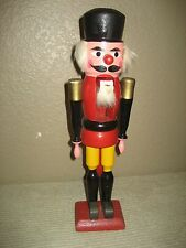 Toy Soldier Wood NutCracker Hand Painted Dressed in Red, Black  & Yellow Uniform