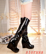 Patent Leather Women Lady High Wedge Heel Platform Knee High Boots Dancing Boots