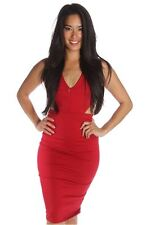 121AVENUE Solid Elegant Back Strap Dress S L Small Large Women Red Formal USA
