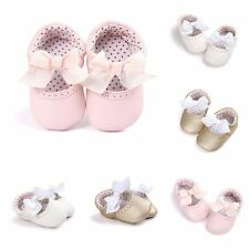 Princess Baby Girls Bowknot Shoes Infant Kid Soft PU Leather Non-Slip Prewalkers