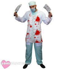 KILLER SURGEON FANCY DRESS DOCTOR HALLOWEEN COSTUME WITH BLOODY APRON AND KNIVES