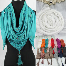 Women's Floral Lace 3D Flower Bead Tassel Solid Triangle Scarf Ladies Shawl Wrap