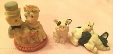 Vintage lot 3 Collectible Pig Figurines Resin Bride/Groom Black/Cream Spotted