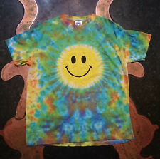 Festival Kid's Smiley Face rainbow Tie Dye T shirt Hippy Children's Age 3-12