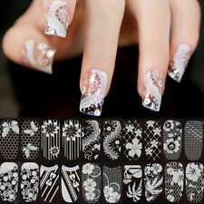 SHEET 3D Lace Crystal Nail Art Tips Stickers Wraps Decal Manicure Decoration DIY