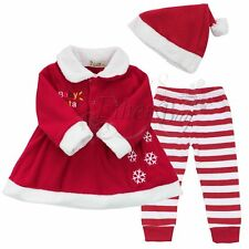 Christmas Santa Claus Kid Clothes Toddler Suit Baby Infant Girl Xmas Outfits Set