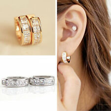 2Pcs Unisex Stainless Steel Rhinestone Crystal Huggie Hoop Studs Earrings gift